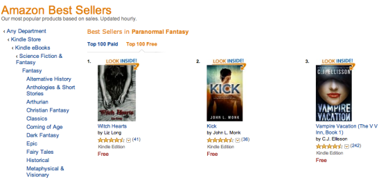 Witch Hearts at #1 in Kindle Free - Paranormal Fantasy